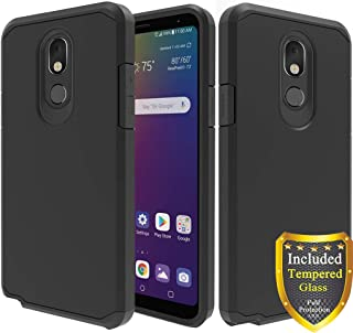 ATUS LG Stylo 5 Case, with Full Cover Tempered Glass Screen Protector, Hybrid Dual Layer Protective TPU Case (Black/Black)
