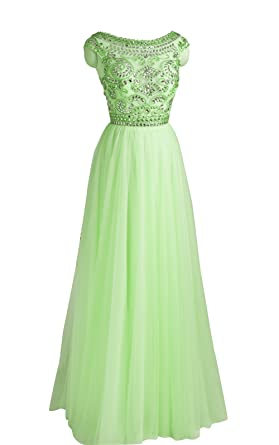Queenworld Long Beads Cocktail Prom Dresses Evening Dresses US-6 Sage