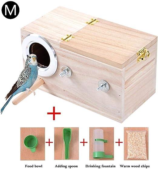 perfecti Caja De Nido De Pájaros De Madera Caja De Cría para Pájaros, Casa De Estación De Alimentación De Anidación De Aves para Pinzón Cockatiel(S/M/L): Amazon.es: Productos para mascotas