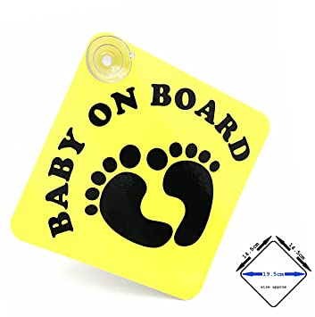 SUPER BRIGHT - fluorescent pink//matt black acepoprt BABY ON BOARD car sign with suction cups