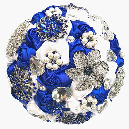 Abbie Home Brooch Bouquet - Grace Royal Blue Rhinestone Gem Pearl Brooch Wedding Bridal Satin Rose Flower