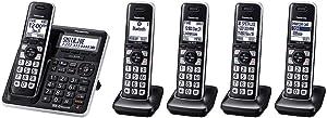 Panasonic KX-TG985SK DECT 6.0 Bluetooth 5-handset Phone Bundle (Renewed)