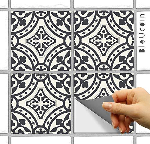 (Bleucoin Portugal Terracotta Inspired Tile Stickers, Kitchen/Bathroom Backsplash Tile Decal, Removable Stair Riser Stickers, Peel & Stick Home Decor (4.25