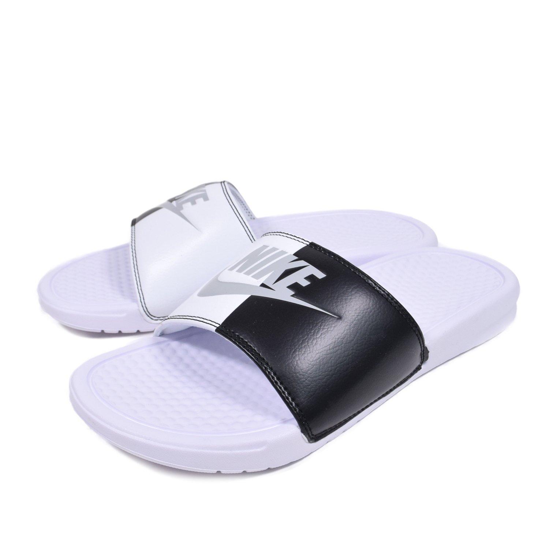 NIKE Men's Benassi Just Do It Athletic Sandal, White/Pure Platinum/Black/White, 10 D US