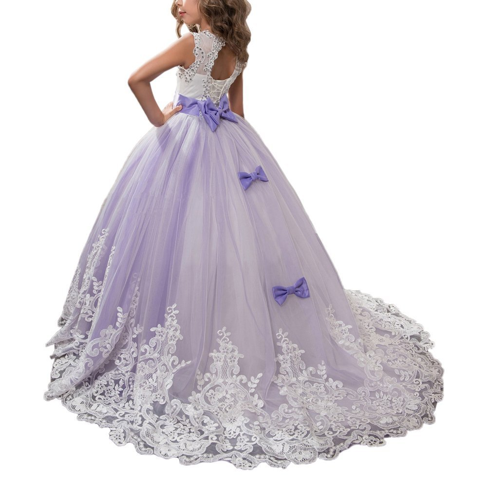 Amazon.com: KissAngel Ivory Long Lace Flower Girl Dresses White Designer Childrens Bridesmaid Purple Wedding Girls Dresses: Clothing