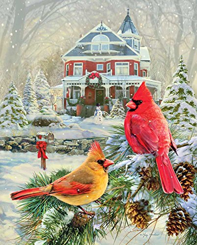 Springbok Puzzles - Cardinal Holiday Retreat - 1000 Piece Jigsaw Puzzle - Large 30 Inches by 24 Inches Puzzle - Made in USA - Unique Cut Interlocking Pieces