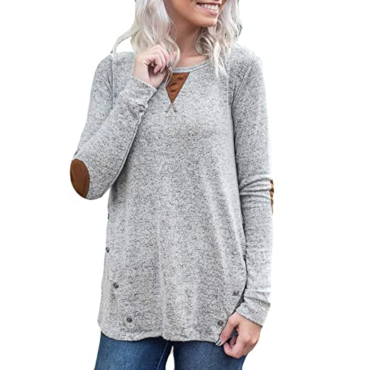 Amazoncom Womens Sweater Solid Long Sleeve Button O Neck Print