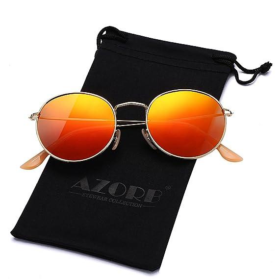AZORB Gafas de Sol polarizadas Redondas Pequeñas con Marco de Metal, Lente de Espejo
