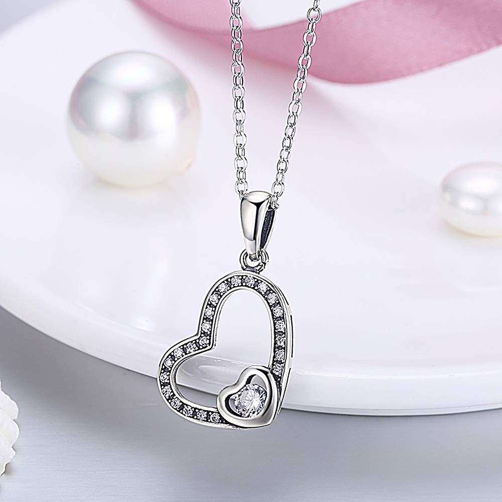 1.10 Ct Round Cut Simulated Diamond Double Heart Pendant Necklaces With Chain 10K White Gold