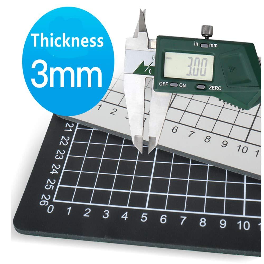 Aukcherie Base de Corte A4 con Plantilla Múltiples Profesional Alfombrilla de Corte de PVC - Doble Cara Autocuración Superficie Verde (Negro)