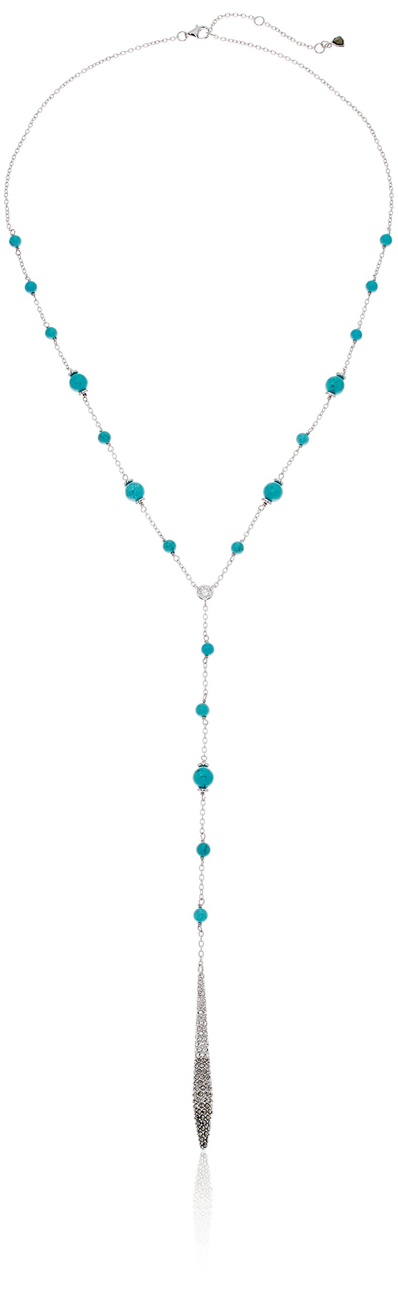 Judith Jack Sterling Silver/Swarovski Marcasite Cubic Zirconia Turquoise Y Shaped Necklace, 20'' + 2'' Extender