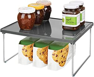 mDesign Decorative Plastic/Metal Storage Shelf - 2 Tier Raised Food and Kitchen Organizer for Cabinets, Pantry Shelves, Countertops, Stackable and Folds Flat - Charcoal Gray/Chrome