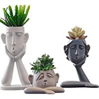 Kelendle 3 Pack Indoor Outdoor Heads Planter Resin Succulent Planter Vase Abstract Statue Planter Urn Home Garden Decor…