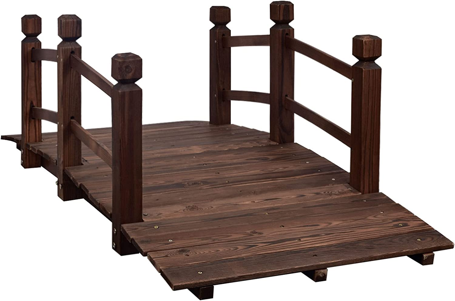 MAXXPRIME 5 ft Wooden Garden Bridge Arc Outdoor Stained Finish Footbridge with Safety Railings for Backyard, Decorative Pond Bridge, Stained Wood