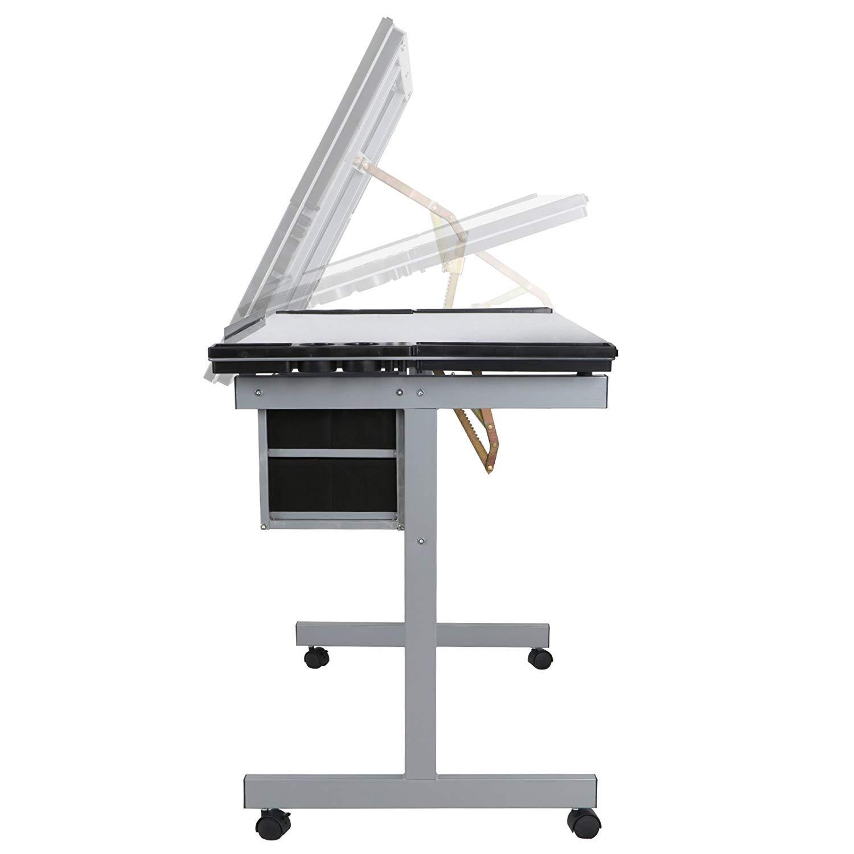 HomGarden Adjustable Drafting Drawing Table Desk Tempered Rolling Glass Top Art Craft Station Desk w/2 Slide Drawers and Castors by HomGarden (Image #6)