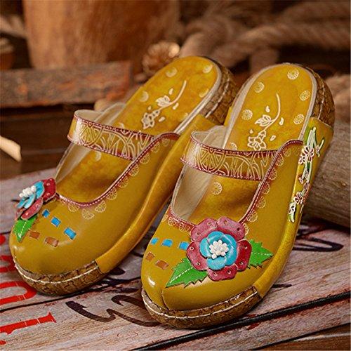Respaldo Mocasines Amarillo Oxford Mujer Verano Deporte Colores Zapatilla Cuero Planas Sandalias De Sin Para Vintage Socofy Zapatillas wRFXcWZqw