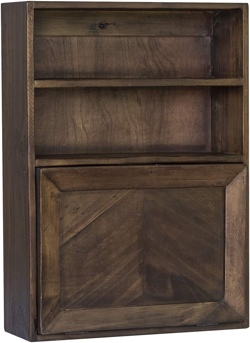 Functional Home Accents Fold Down Wall Storage Cabinet for Bathroom, Kitchen, Bar Modern Brown