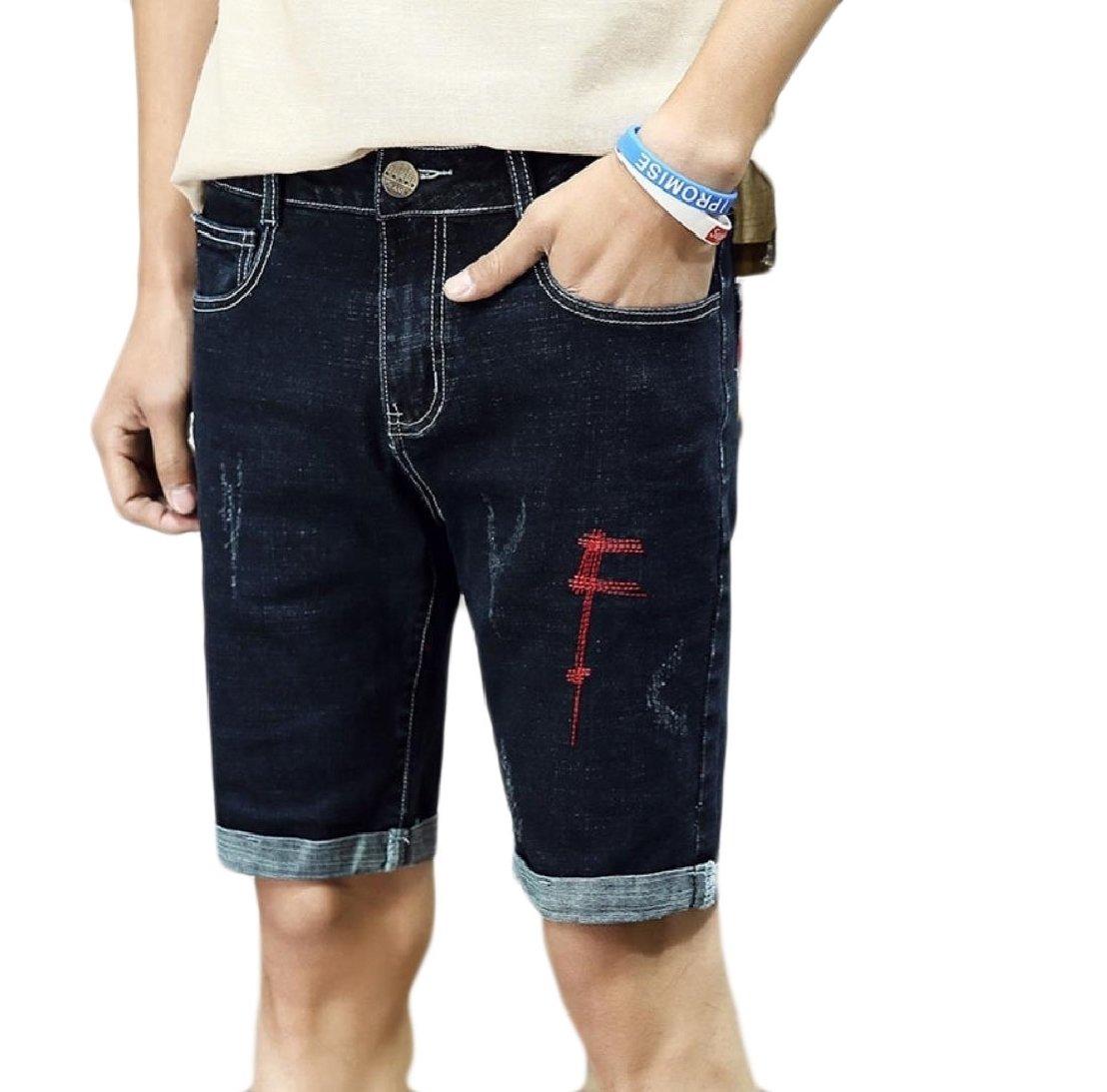 cheelot Men Crimping Simple All-Match Fit Leisure Vogue Denim Shorts Black 36