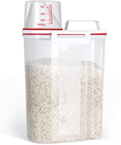 TBMax Rice Storage Bin Cereal Containers Dispenser with BPA Free Plastic + Airtight Design + Measuring Cup + Pour Spout (Red)