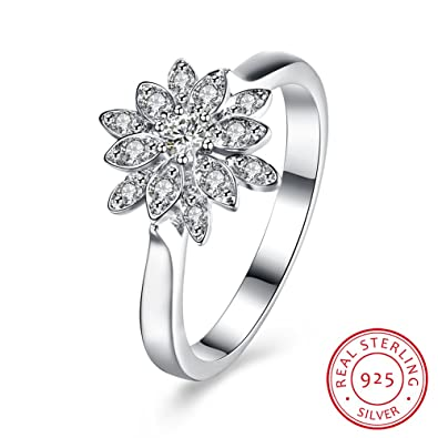 Balansoho 925 Sterling Silver Cz Snow Lotus Flower Rings For Women