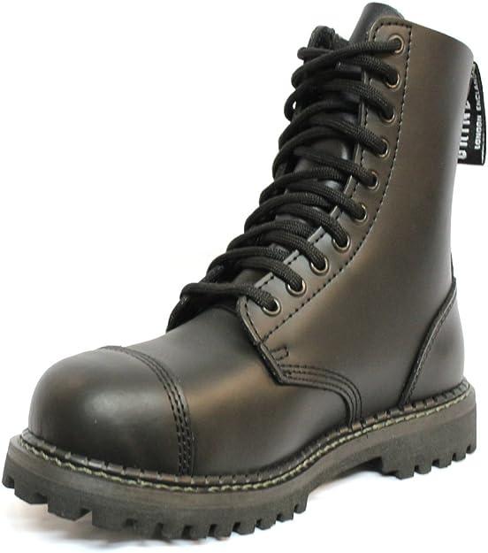 Grinders Stag Matte Noir s/écurit/é Embout m/étallique Unisexe Militaire Punk Moto Bottes