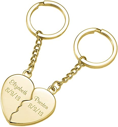 FUJIN Personalized 925 Sterling Couple Heart Keychain Custom Made with Any Names