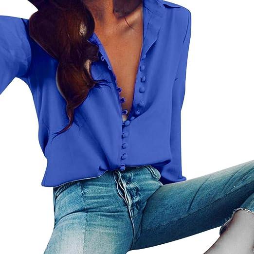 bbb7789ff Kangma Women Casual Elegant Solid Long Sleeves Lapel Button Shirts ...