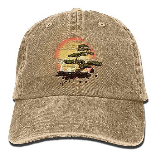 onevewo Bonsai Tree Karate Dojo Denim Hat Adjustable Womens Flag Baseball Hat ()