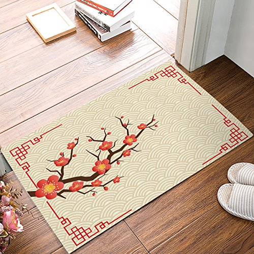 Findamy Non-slip Indoor Door Mat Entrance Rug Rectangle Absorbent Moisture Floor Carpet for Chinese Style Courtyard with Plum Pattern Doormat 18x30 inch (Fashion Plum Pet)