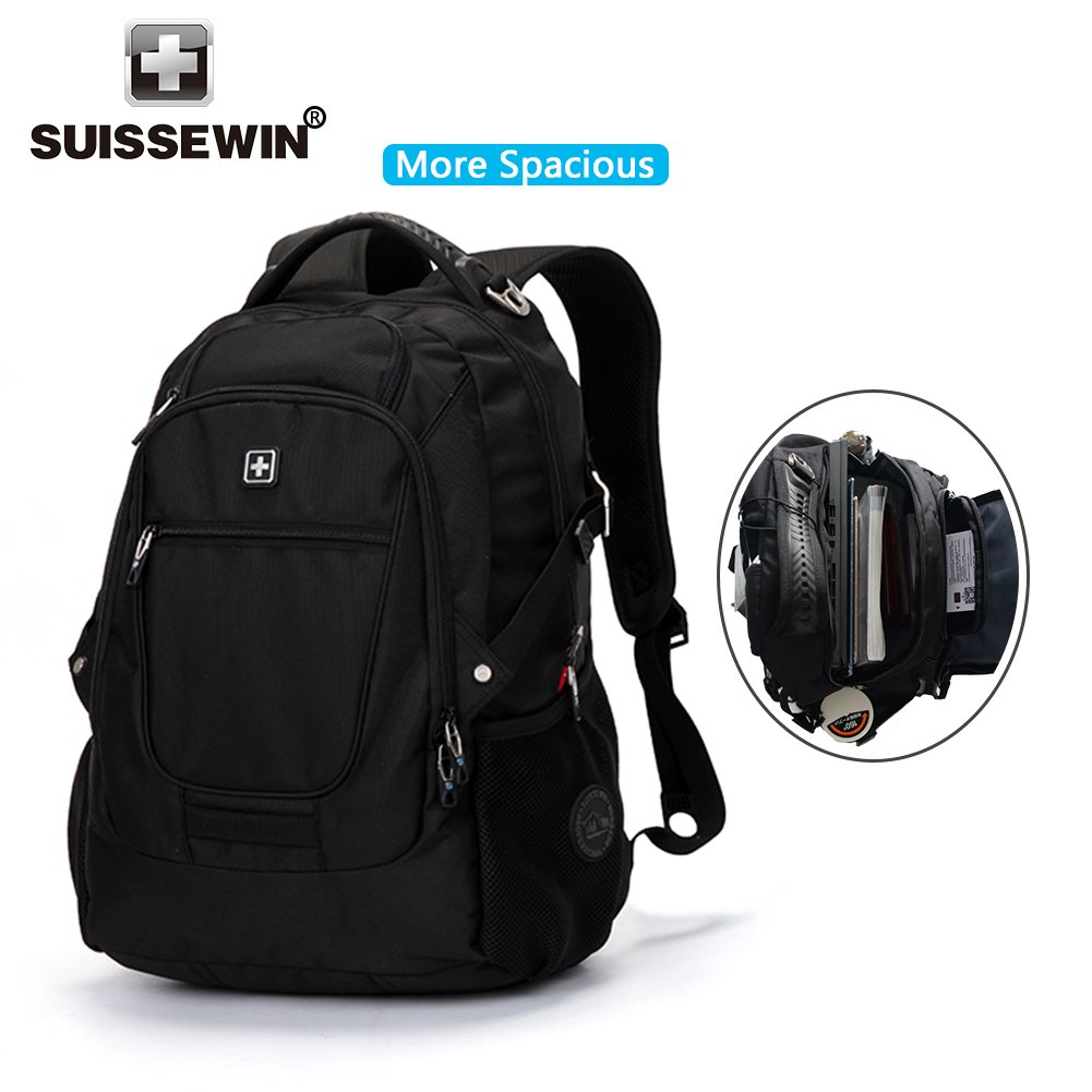 SUISSEWIN Laptop Backpack Up to 17 Inch Notebook Computer for Women Men Water Resistant Business Computer Backpacks Laptop Travel Bag Lightweight College Students Notebook Backpack,Black SN9825