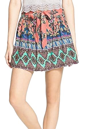 Zoe & Rose Pink Womens Pirnted A-Line Skirt Blue XS