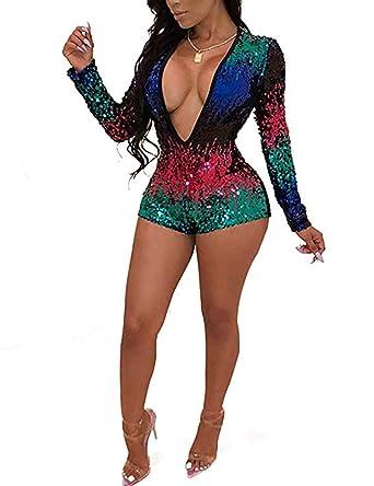 9035d5e13ea Amazon.com  MARI CIAS Women s V-Neck Long Sleeve Sequin Jumpsuits ...