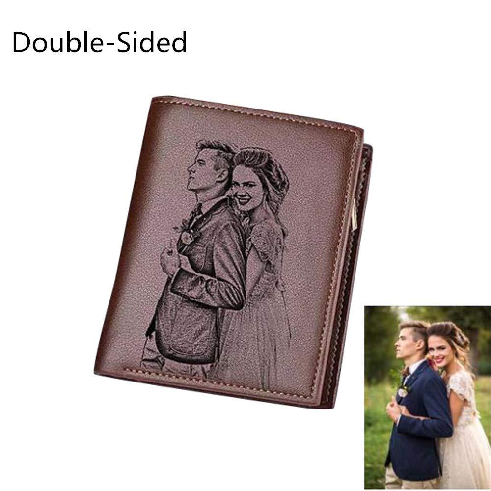 Vertical wallet tri-fold wallet custom photo wallet men perfect custom gift(Brown Double Side)