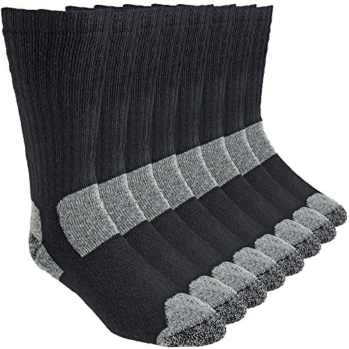 Working Person's 8766 Black 4-Pack Steel Toe Crew Socks - Made In The USA (Large)