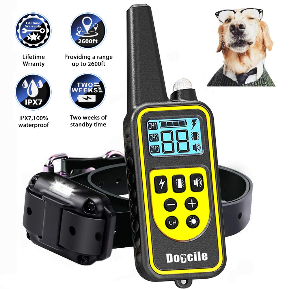 LINNSE Shock Collar for Dogs, Dog Shock Collar with Remote Control for 2600ft Range 100% Waterproof & Rechargeable Dog Training Collar with Remote Dogs (TC4) by LINNSE