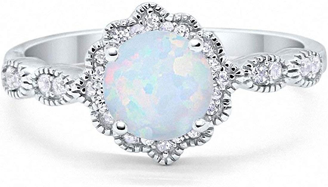 Blue Apple Co. Halo Floral Art Deco Wedding Engagement Ring Round Cubic Zirconia 925 Sterling Silver