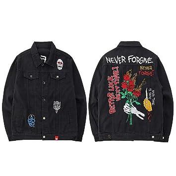 JIAKENVDE Chaqueta s de Mezclilla Negra de Hombre Bordado de Jeans Rojos Streetwear de Mezclilla Otoño de Diseño de Cráneo de Wolf de Mezclilla Hip Hop: ...