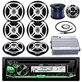 "JVC KDR85MBS Marine Stereo Receiver Bundle Combo With Remote Control + 6x Enrock Black/Chrome 6.5"" Boat Speaker + Waterproof Amplifier + Radio Wire Antenna + 50 Foot 16g Speaker Wire (Chrome/Black)"