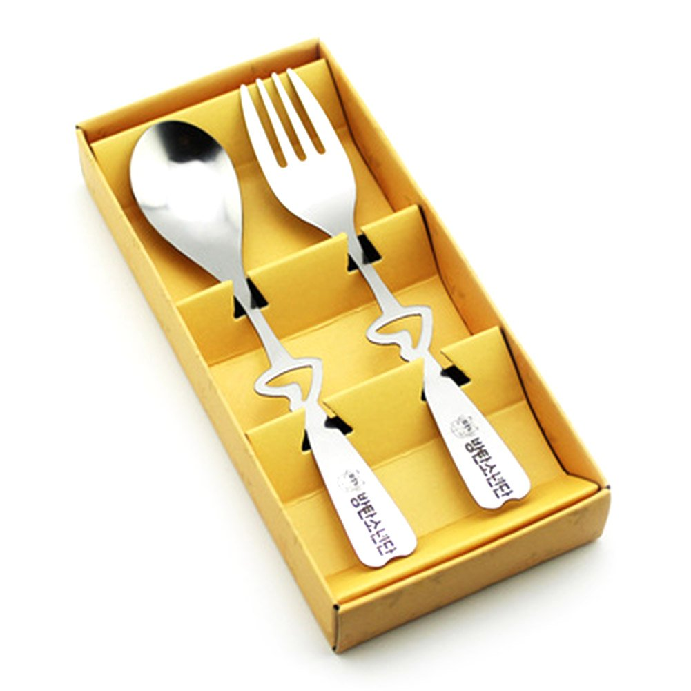 KPOP BTS Bangtan Boys Stainless Steel Spoon Fork Flatware Dinnerware Set with Gift Box for A.R.M.Y