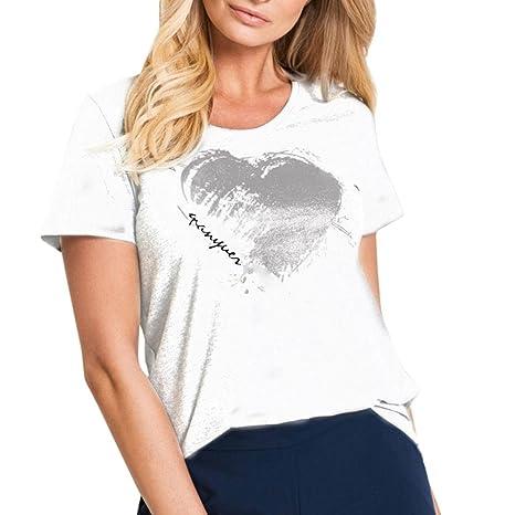 Yeamile💋💝 Camiseta de Mujer Tops Negro Blusa Causal Ocasionales Moda Camiseta de Las Mujeres