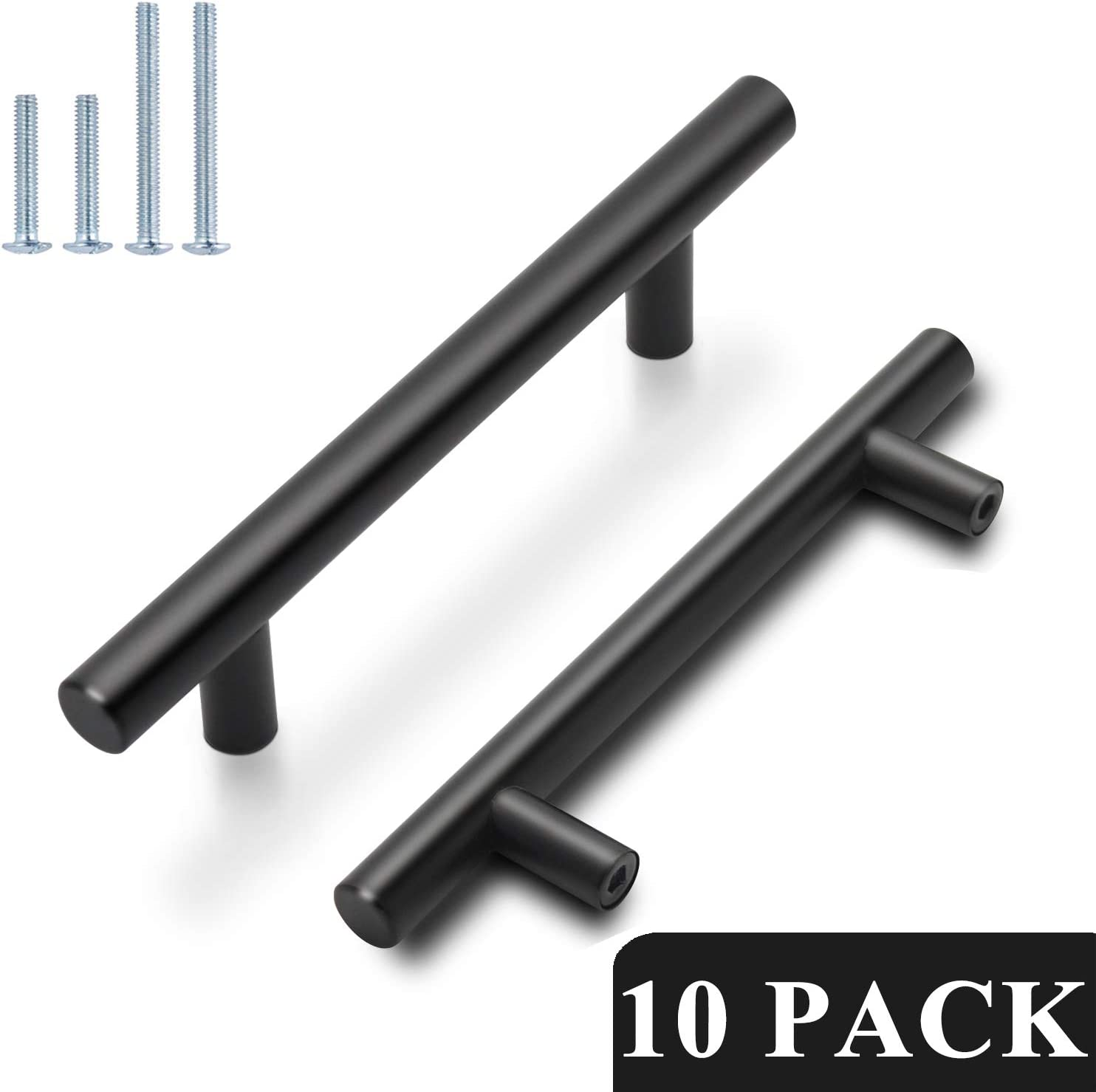 10 inch Hole Spacing Probrico Flat Black Modern Cupboard Pull Bedroom T Bar Handle Dresser Knobs Set Kitchen Cabinet Hardware