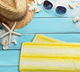 Everyday Resort Quality Cabana Ombre Yellow Beach Towels - Pack of 2 Cabana Stripe Pool Towels 100% Cotton - Large 60'' by 30'' - Soft and Absorbent, Great for the Pool and the Beach!
