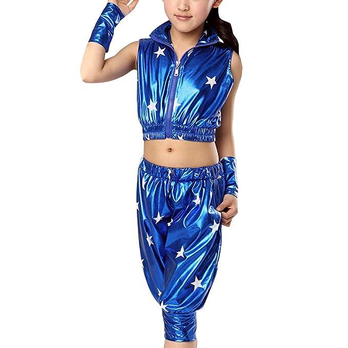 a08508311066d Tenthree Niña Danza Conjuntos de Pantalones - Niños Niño Estrella Trajes  Conjuntos Escenario Jazz Hip Hop Baile Callejero Disfraces Actuación Ropa  de Baile  ...