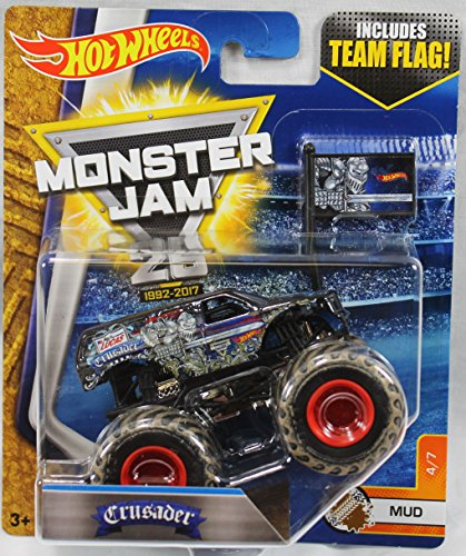 2017 Hot Wheels Monster Jam 1:64 Scale Truck with Team Flag - Crusader