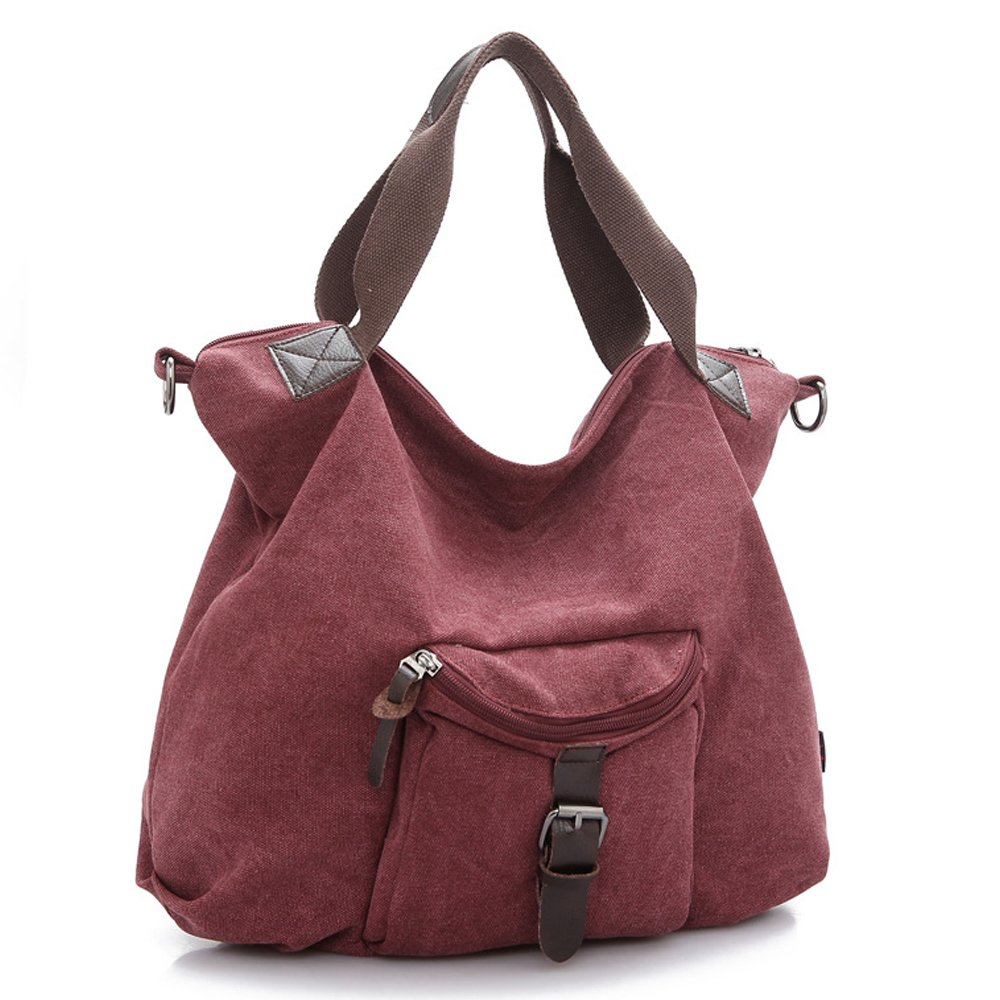 Fashion Women Tote Bags Solid Canvas Sling Shoulder Bags (purplish red)