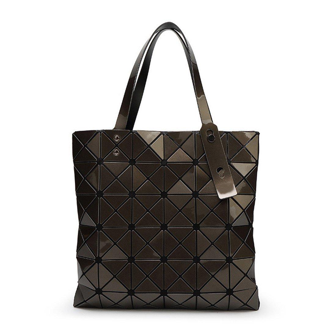 Women Handbags Geometric Plaid Folded Shoulder Bags Casual Tote Hand Bag Silve Ladies Bao Messenger Bag Mochila Brown