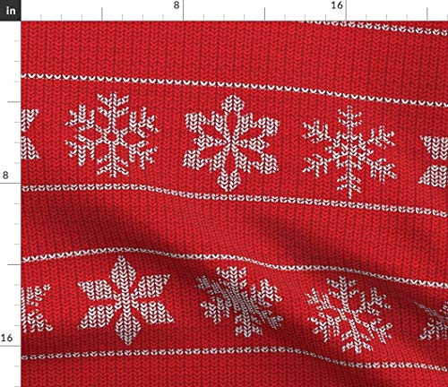 (Snowflake Fabric - Sweater Red Winter Holiday Ugly Christmas Snow Flake Wrapping Cloth Cozy Print on Fabric by The Yard - Sport Lycra for Swimwear Performance Leggings Apparel Fashion)
