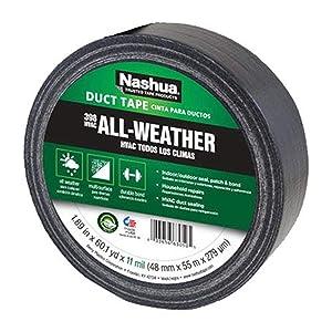 Nashua 398 Polyethylene Coated Cloth Professional Grade Duct Tape, 55 m Length, 48 mm Width, Black