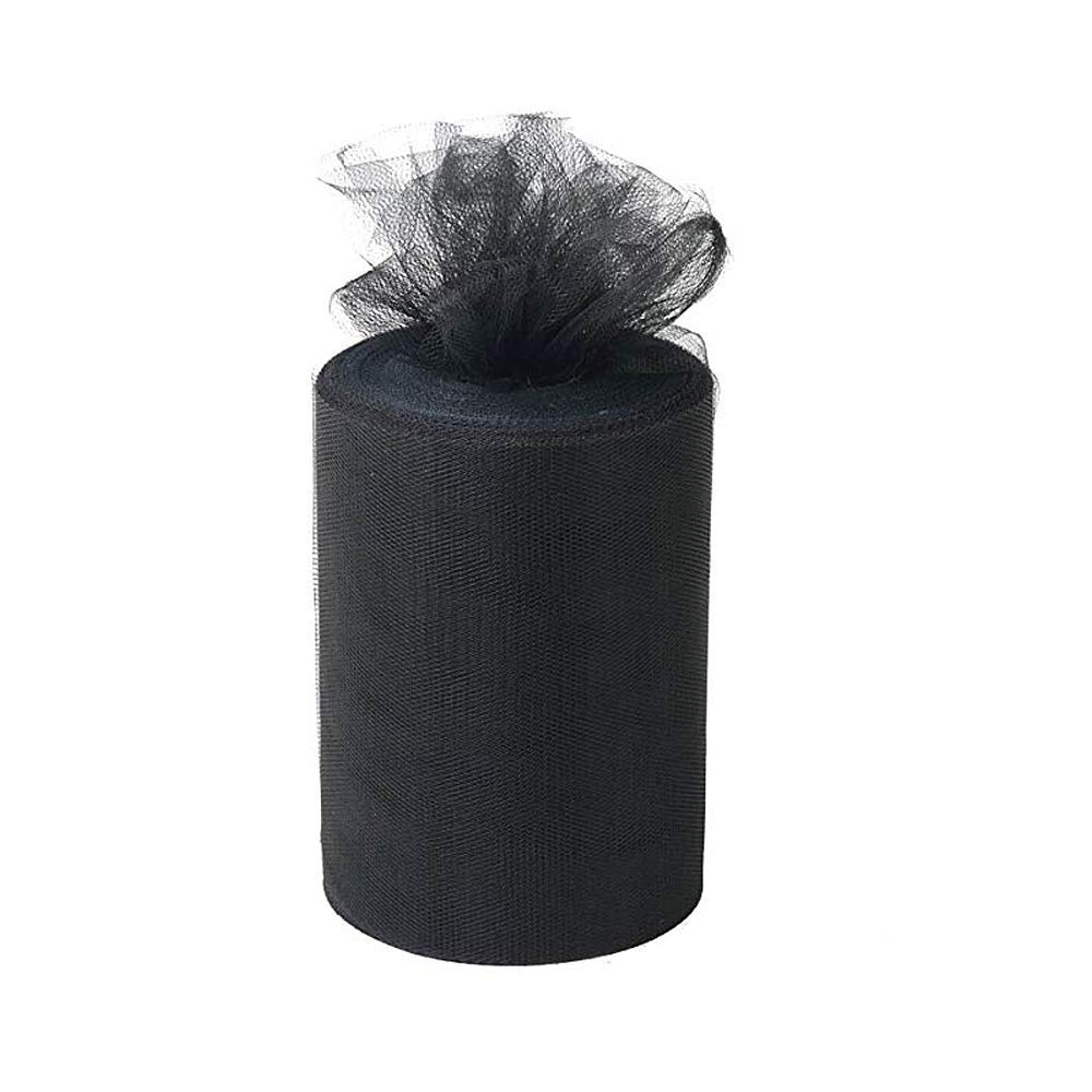 Black Tulle Spool 6 Inch x 100 Yards for Tulle Decoration