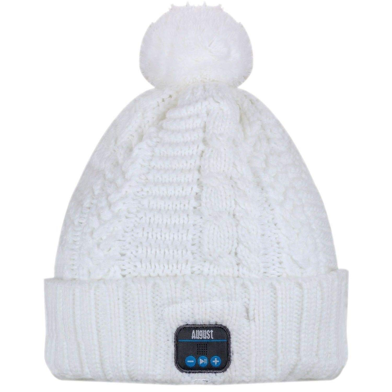 Bluetooth Beanie, Wireless Headphone Hat Cap Musicphone Speaker Stereo Headphone Headset Earphone Speaker Mic for Fitness Outdoor Sports Skiing Running Skating Walking, White